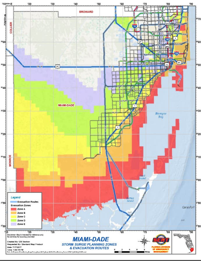 miami dade flood zone map Hurricane Irma Miami Dade Orders 146k Plus Evacuations Miami miami dade flood zone map