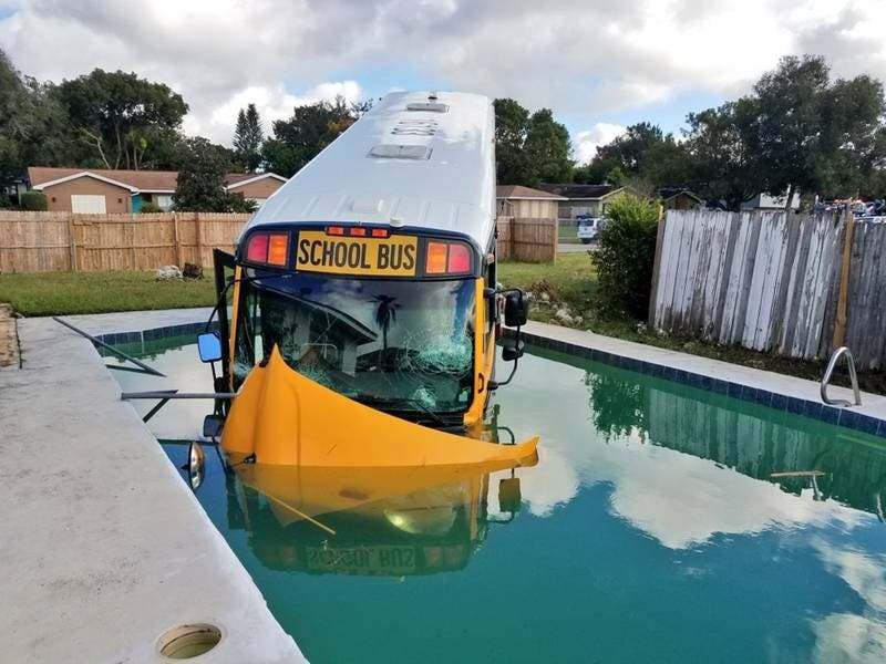 Florida School Bus Crashes Into Swimming Pool Orlando Fl Patch