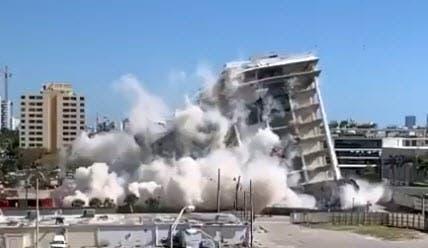 Abandoned Miami Beach Hospital Implodes Amid White Cloud