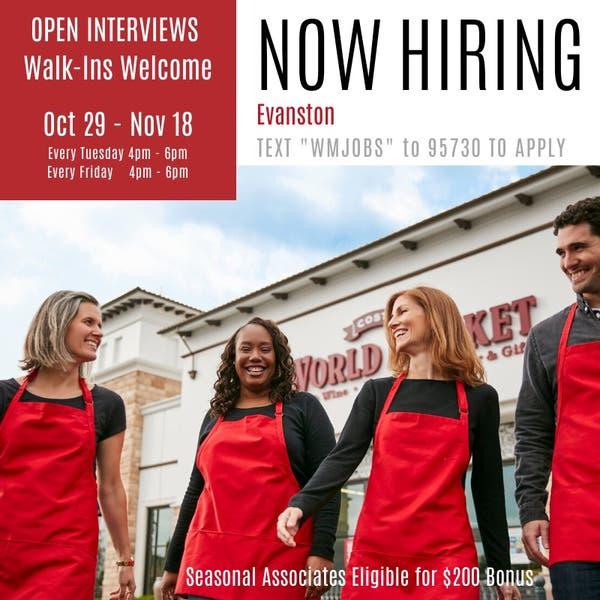 Nov 8 Open Interviews Hiring Seasonal Associates