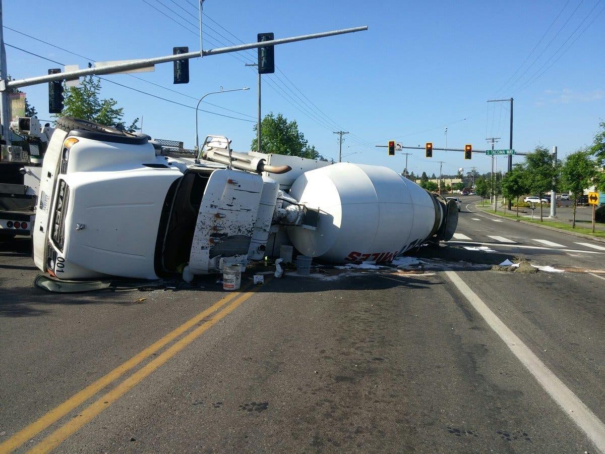 Cement Truck Overturns In Lakewood, Cleanup Undeway [UPDATE