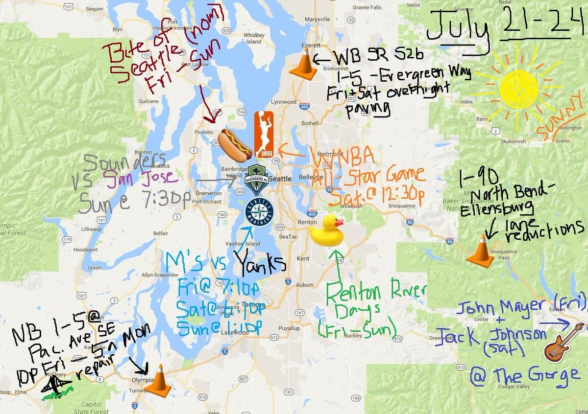 WSDOT Map Illustrates Extremely Busy Traffic Weekend In