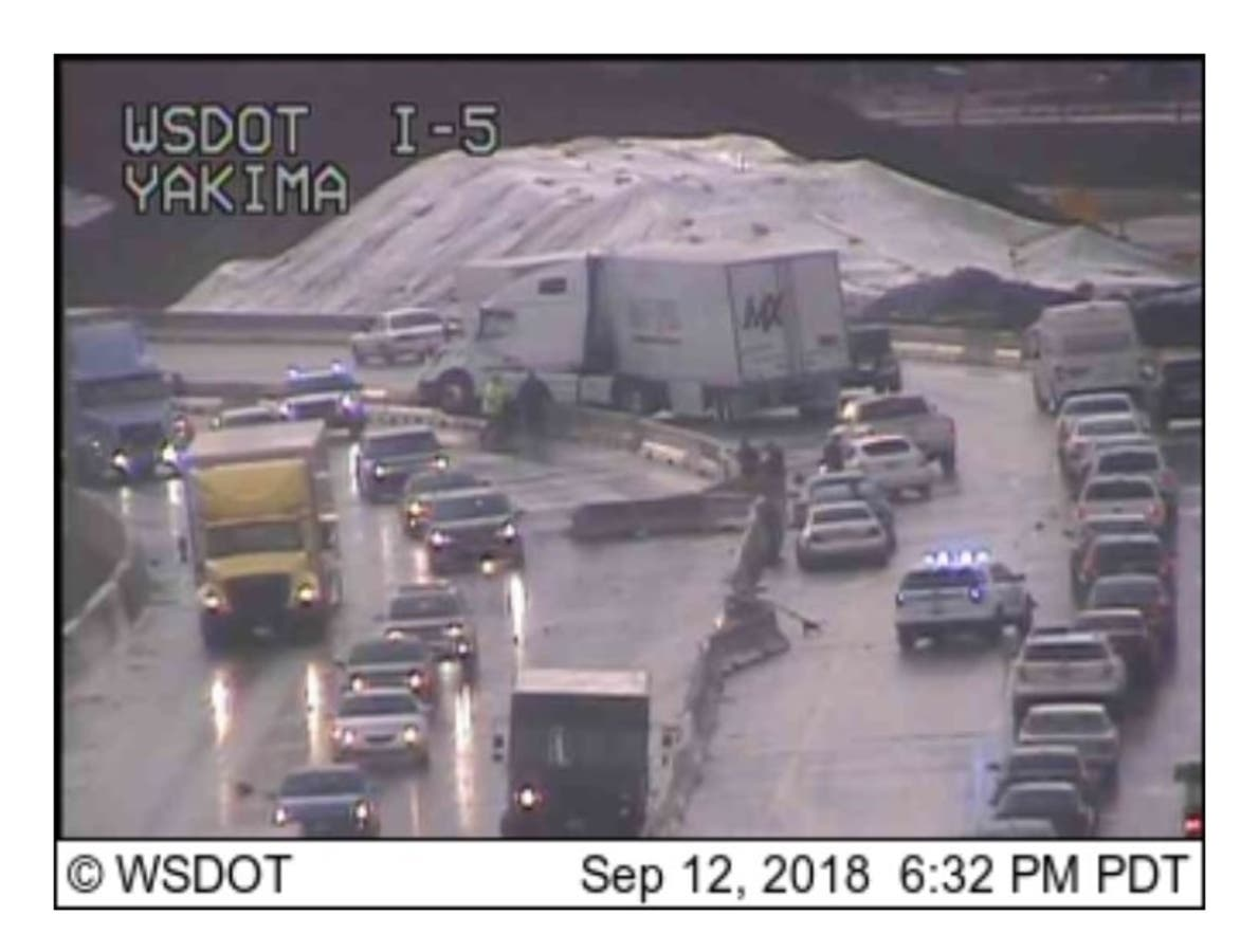 Major Traffic Mess On I-5 After Semi Hits Barrier