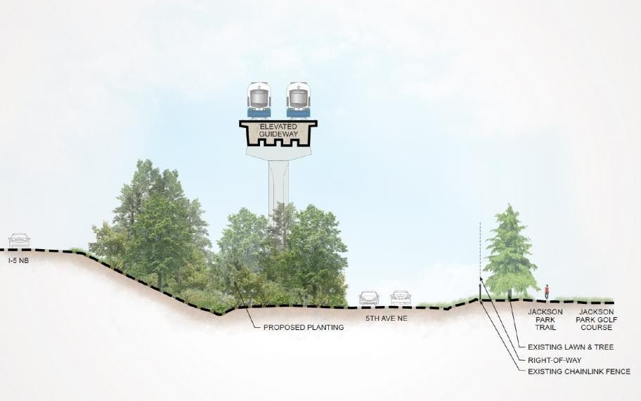 A rendering of what elevated light rail will look like in the area of Northeast 145th Street near Shoreline.