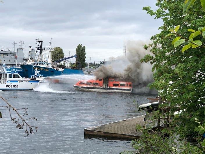Boat Fire In Seattle Creates Big Plume Of Smoke