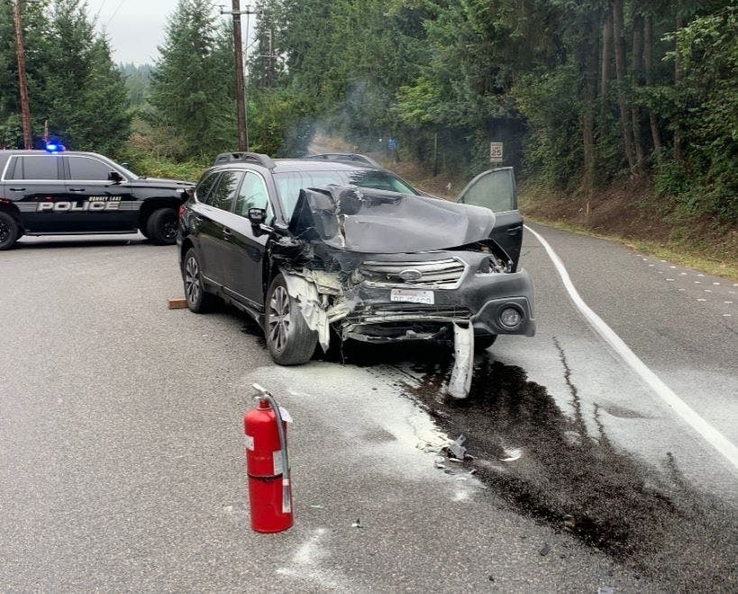 East Pierce Fire Engine Damaged In Collision With Car