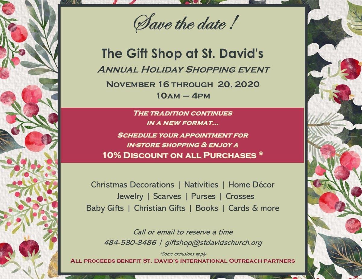 Nov 16 The St David S Gift Shop Holiday Sale And Celebration Radnor Pa Patch