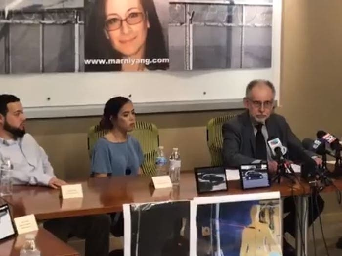 Family members of convicted murderer Marni Yang, from left, son Andrew Yang, daughter Emily Yang and father Larry Merar, speak at an Oct. 2, 2019, press conference in Chicago to announce a post-conviction petition alleging her innocence.