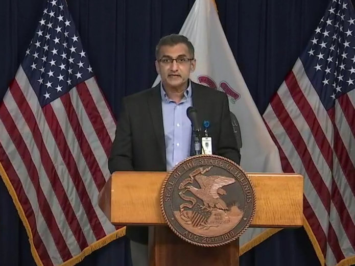 Dr. Kamaljit Singh, of Evanston-based NorthShore University HealthSystem, appeared at a news conference with Gov. J.B. Pritzker Thursday in Chicago.