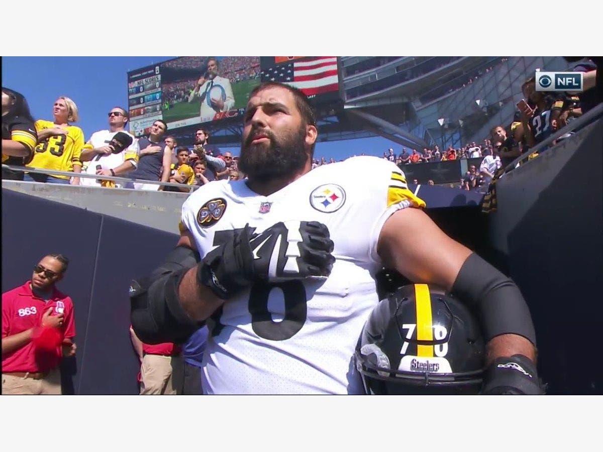 quality design e99f1 56837 After National Anthem Stand, Villanueva's Steelers T-Shirt ...