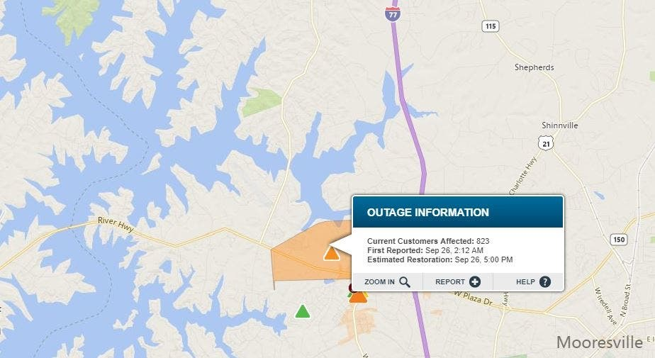 Car Accident In Mooresville Downs Power Lines, Closes
