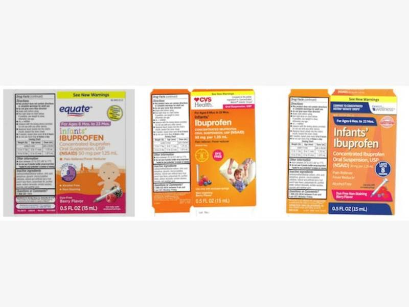 recall  infant ibuprofen sold at walmart  cvs  family dollar