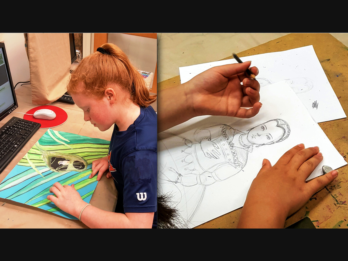 Drawing Skills class (ages 11-14) offered at the ARTfactory