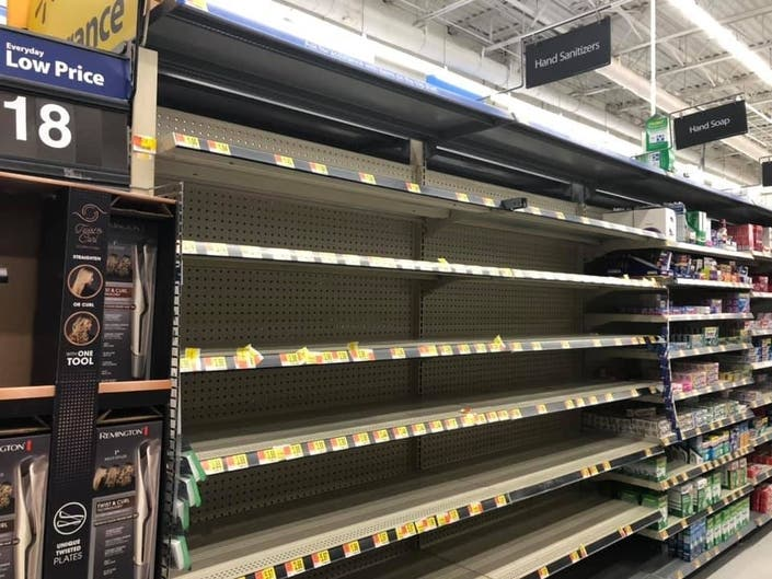 Shelves carrying hand sanitizers were empty at the Burke Walmart on Monday, March 9.