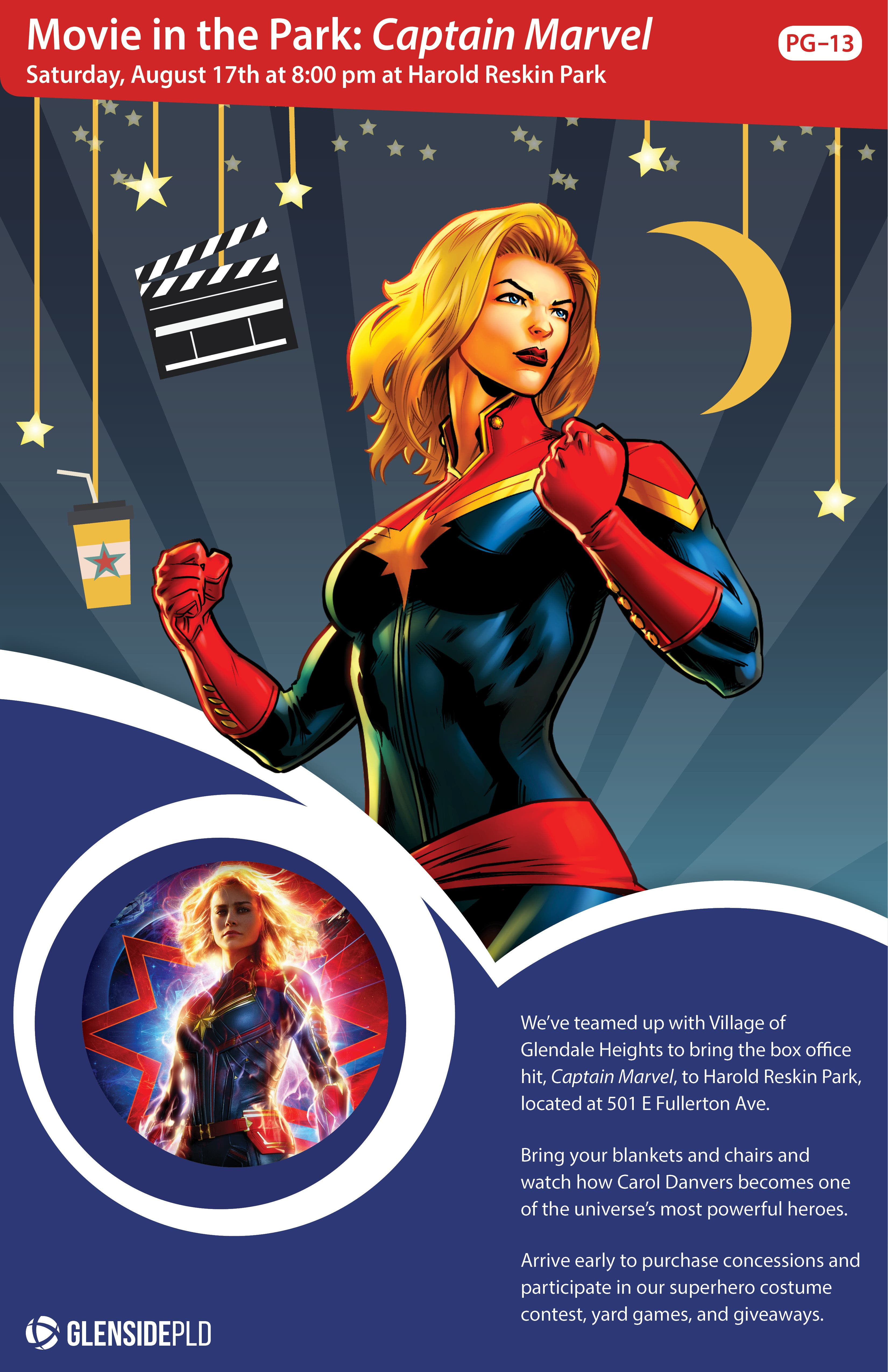 Aug 17 | Movie in the Park: Captain Marvel (PG-13) | Downers Grove