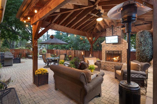 Outdoor Fireplace Hot Tub Home Theater In Naperville