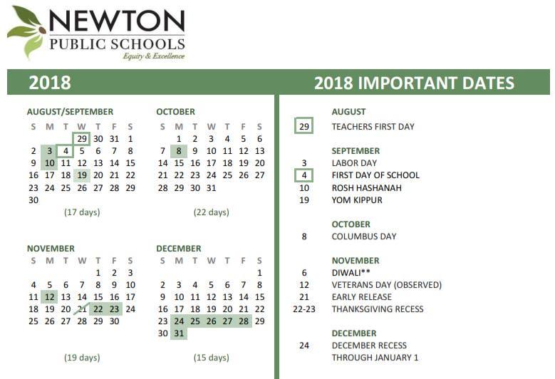 Newton Ma School Calendar 2019 Newton School Calendar 2018 19: First Day Of School, Vacations