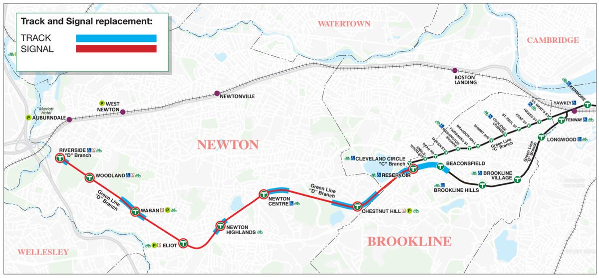 Shuttle Buses To Replace Green Line D Branch For 2 Weeks Brookline