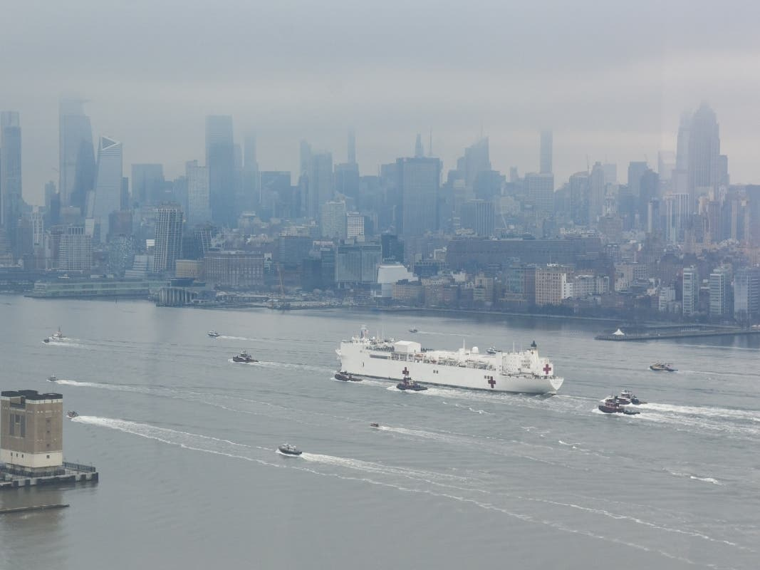 Photos: Hospital Ship USNS Comfort Arrives In Coronavirus-Hit NYC