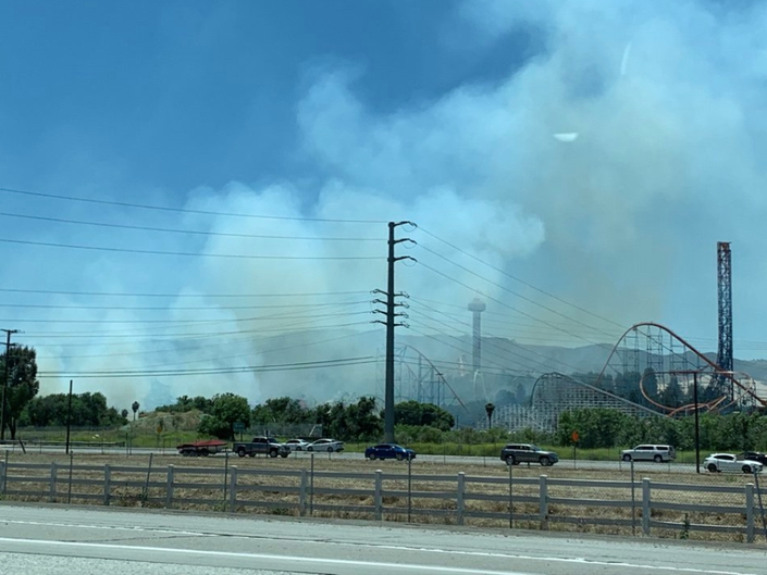 Six Flags Magic Mountain Evacuated For Brush Fire; Roads Closed