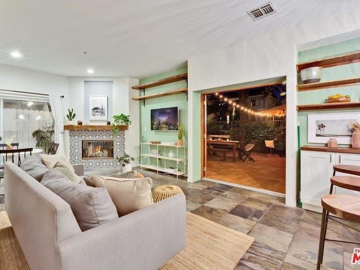 Santa Monica Townhome Boasts Decorative Fireplace-2