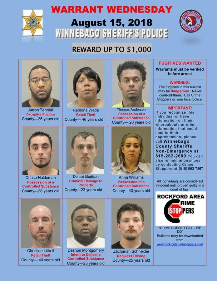 Warrant Wednesday: Fugitives Wanted By Winnebago County