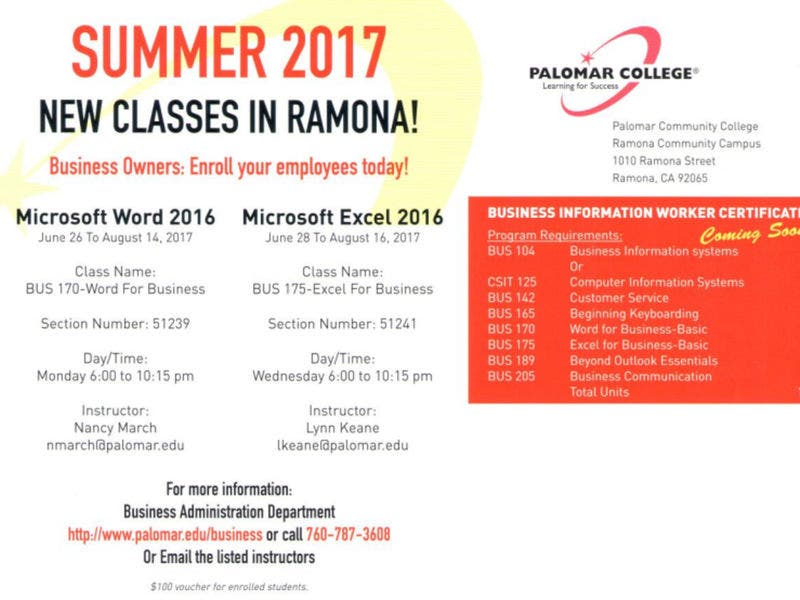 summer 2017 new classes palomar college classes in ramona classes