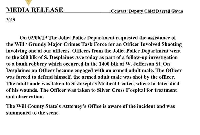 Bank Robbery Suspect Killed By Joliet Police Identified   Joliet, IL