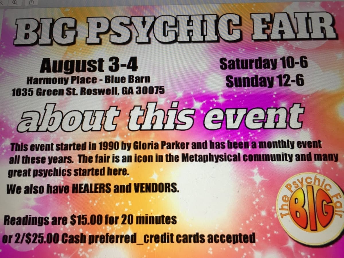 Aug 3 | Big Psychic Fair - August 3 - 4, 2019 | Roswell, GA Patch