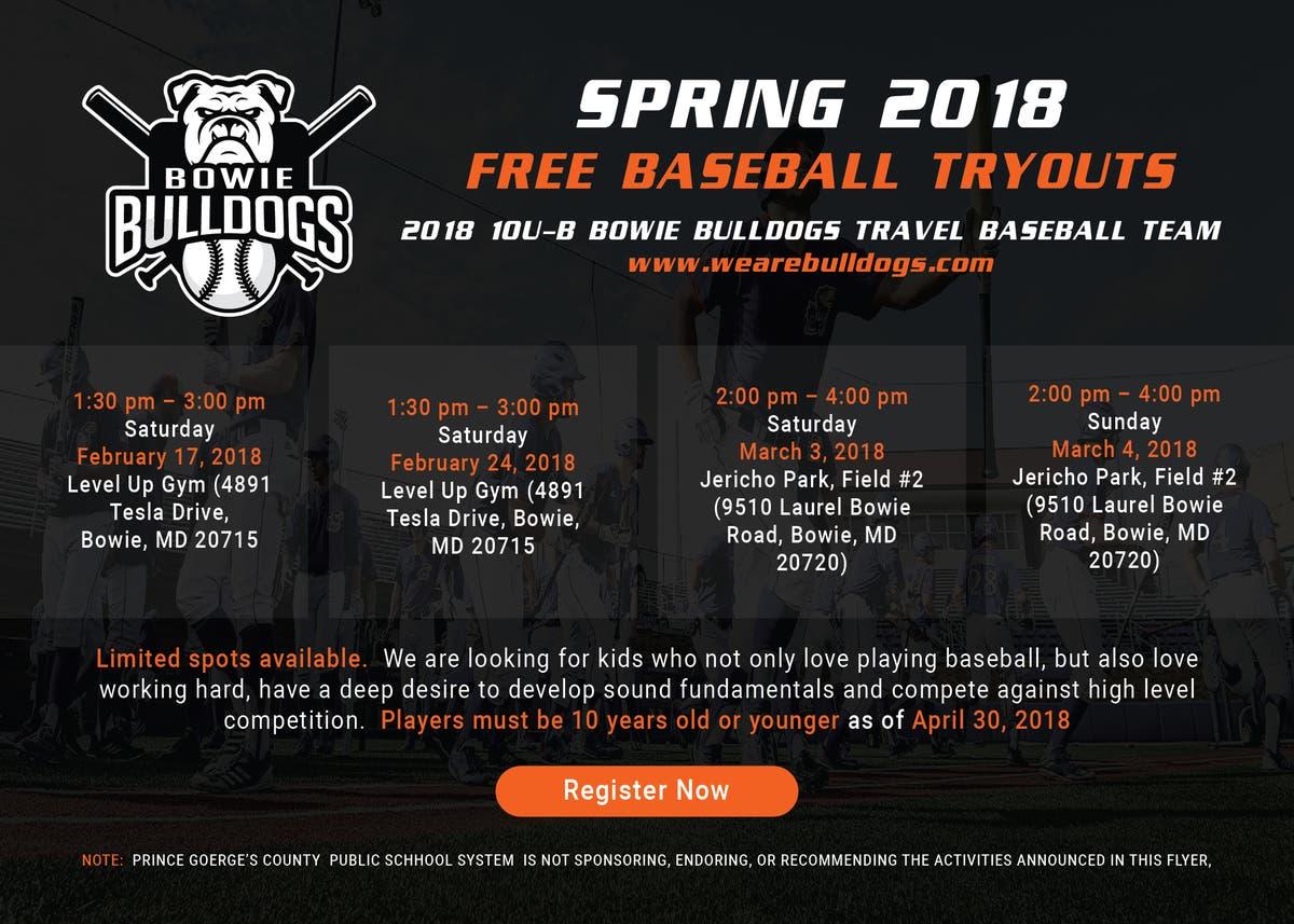 10U-B Bowie Bulldogs Baseball Tryouts -- Players Wanted