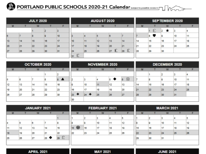 Portland School Calendar For 2020 21 Approved By Board | Portland