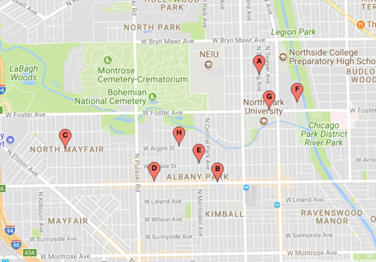 Latest Map Of Albany Park, North Mayfair Car Thefts | Lincoln Square on map of i 290 chicago, map of interstate 88 chicago, map of interstate 94 chicago, map of i 55 chicago,