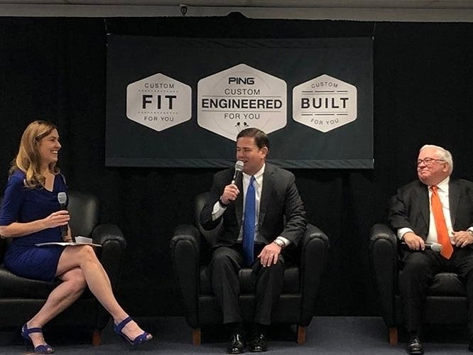 Dawn Grove hosts Arizona Gov. Doug Ducey, center, and Tom Gilman, assistant secretary for administration at the U.S. Department of Commerce, at Ping's headquarters Tuesday in Phoenix.