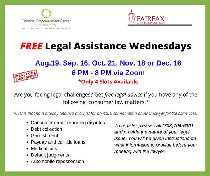 FREE Legal Assistance Wednesdays