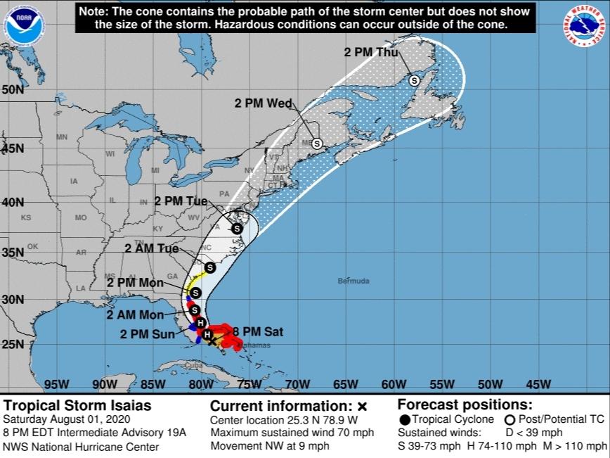 Isaias Heads Toward NC, Could Regain Hurricane Strength