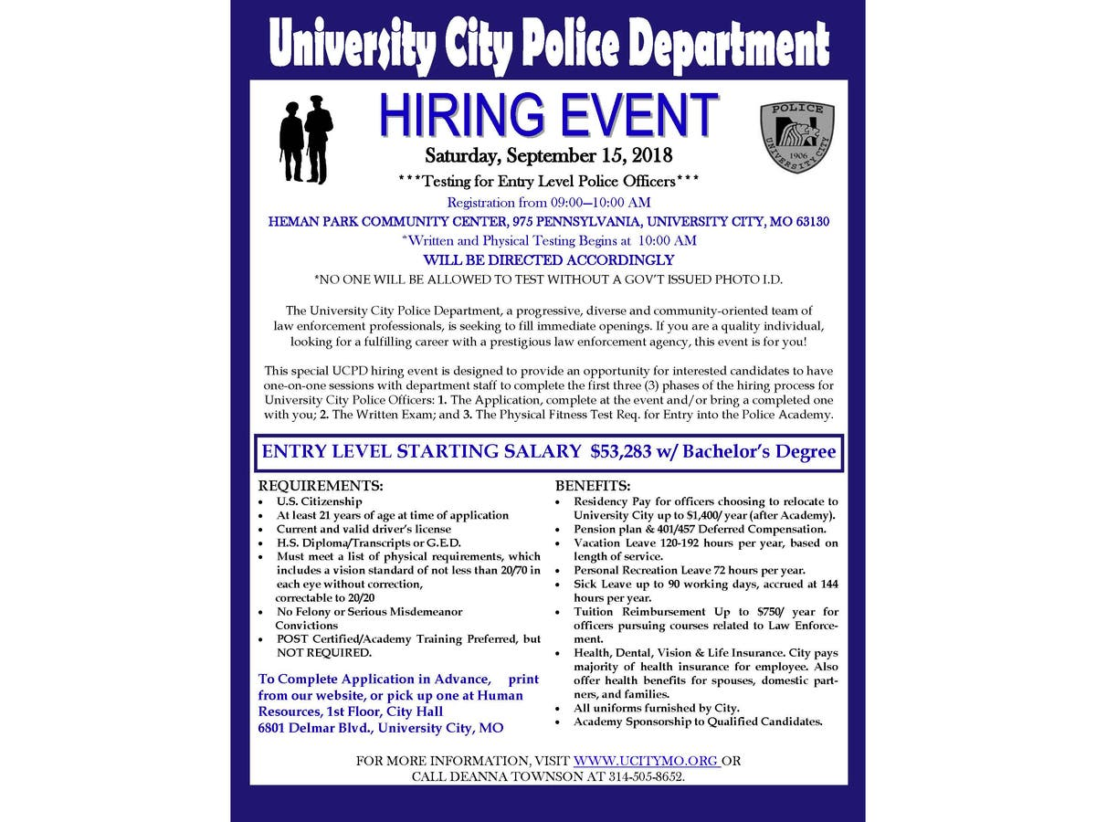 University City Police May Want To Talk With You   About A Job