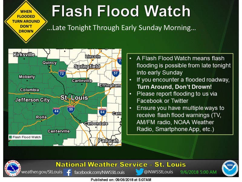 Flood Warning Issued For St  Louis Until Sunday Morning | St