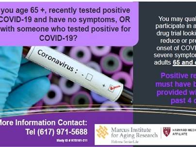 Volunteers, age 65+ are needed for a new drug trial
