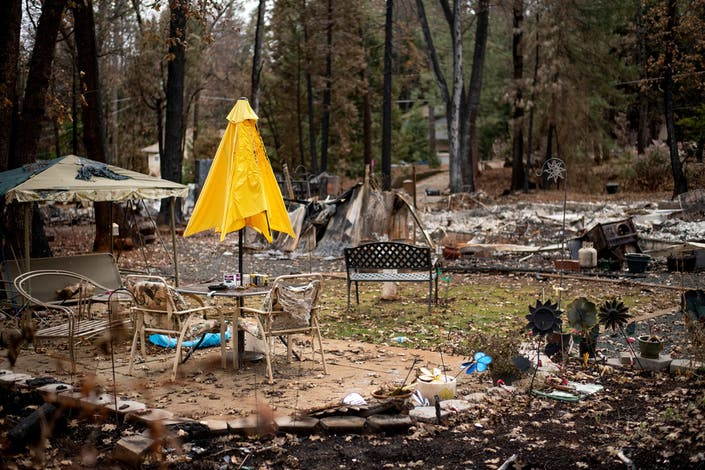 Following The Camp Fire A Patio Umbrella Stands Among Wreckage Of Magalia California Home Ap Photo Noah Berger