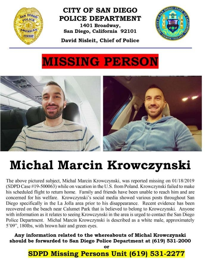 Polish Tourist Missing From La Jolla: Renewed Plea For Info