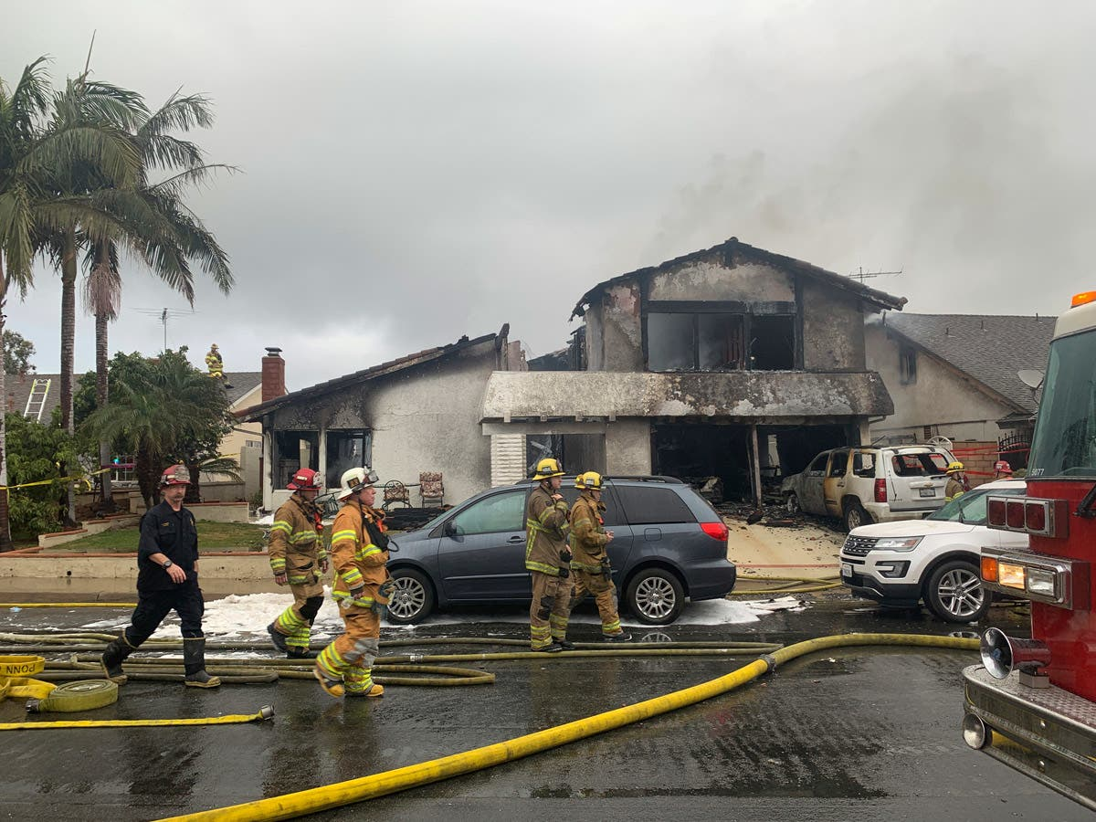 Yorba Linda Plane Crash Sparks House Fire, Kills 5 People: Photos