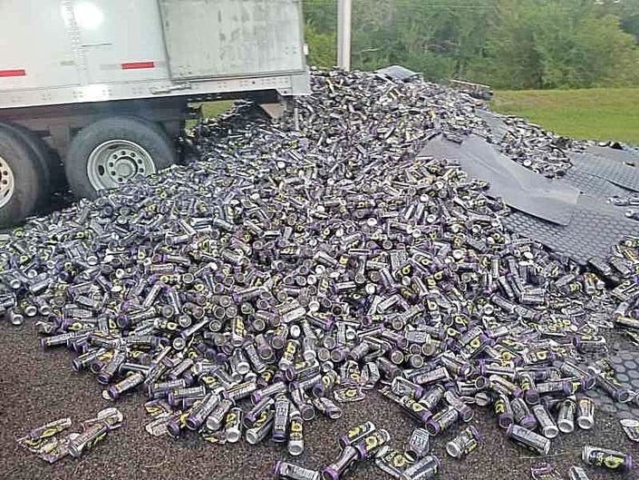 Truck Dumps 5,000 Pounds Of Bang Energy Drink Cans Onto Highway