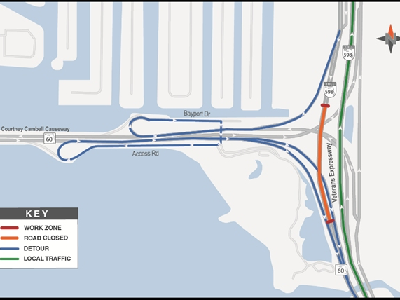 Southbound Veterans Expressway To Be Detoured Nightly At SR 60