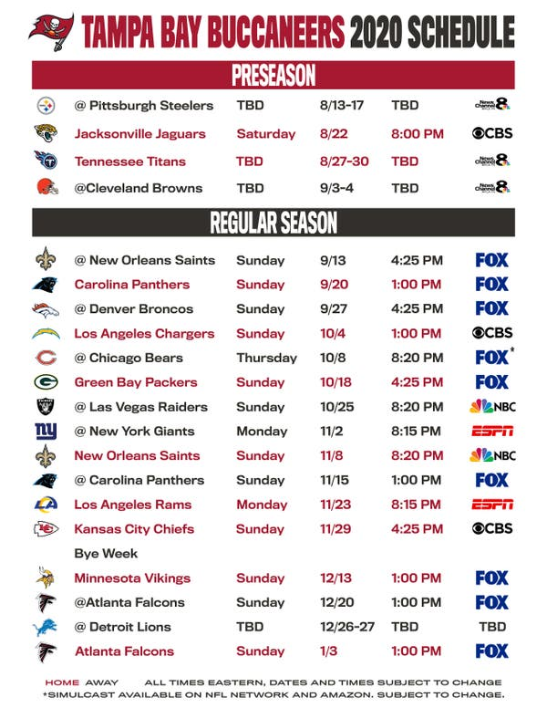 Buccaneers Release 2020 Game Schedule Tampa Fl Patch