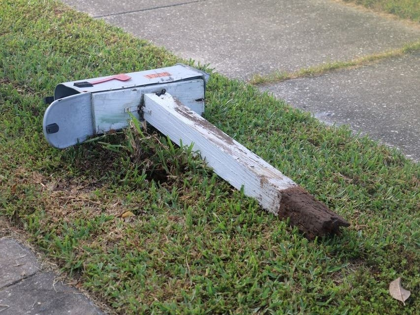 Image result for car hits mailbox