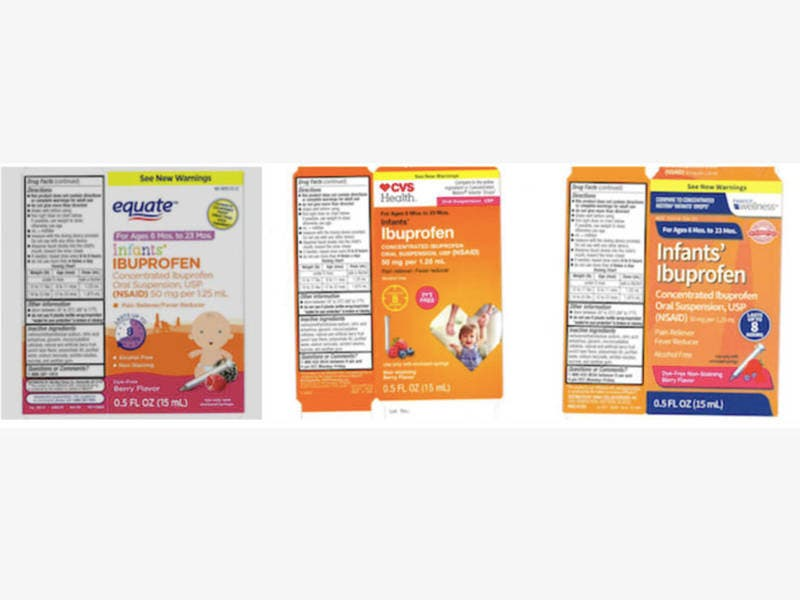 infant ibuprofen recalled  sold at walmart  cvs  family dollar
