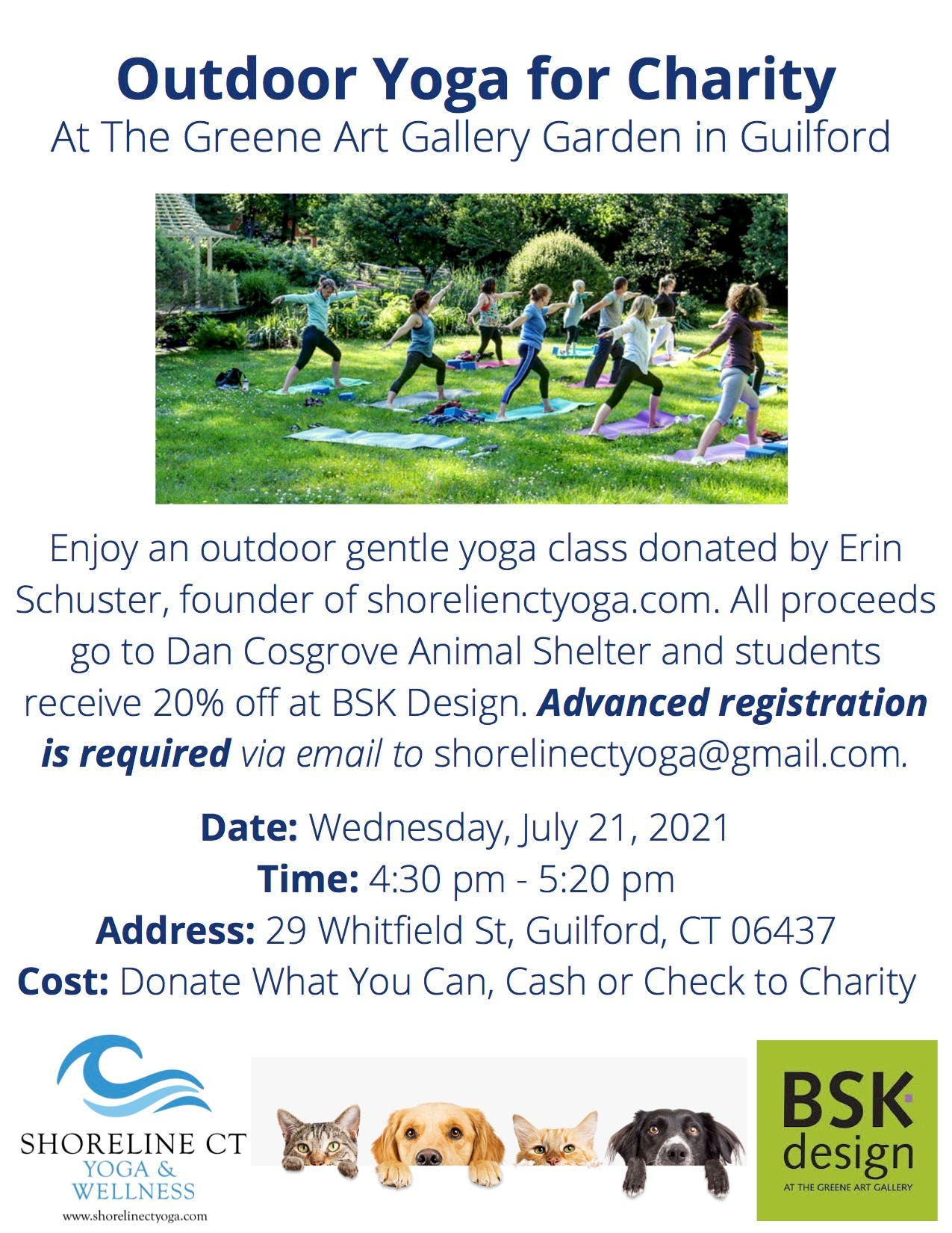 Outdoor Yoga to Support Dan Cosgrove Animal Shelter