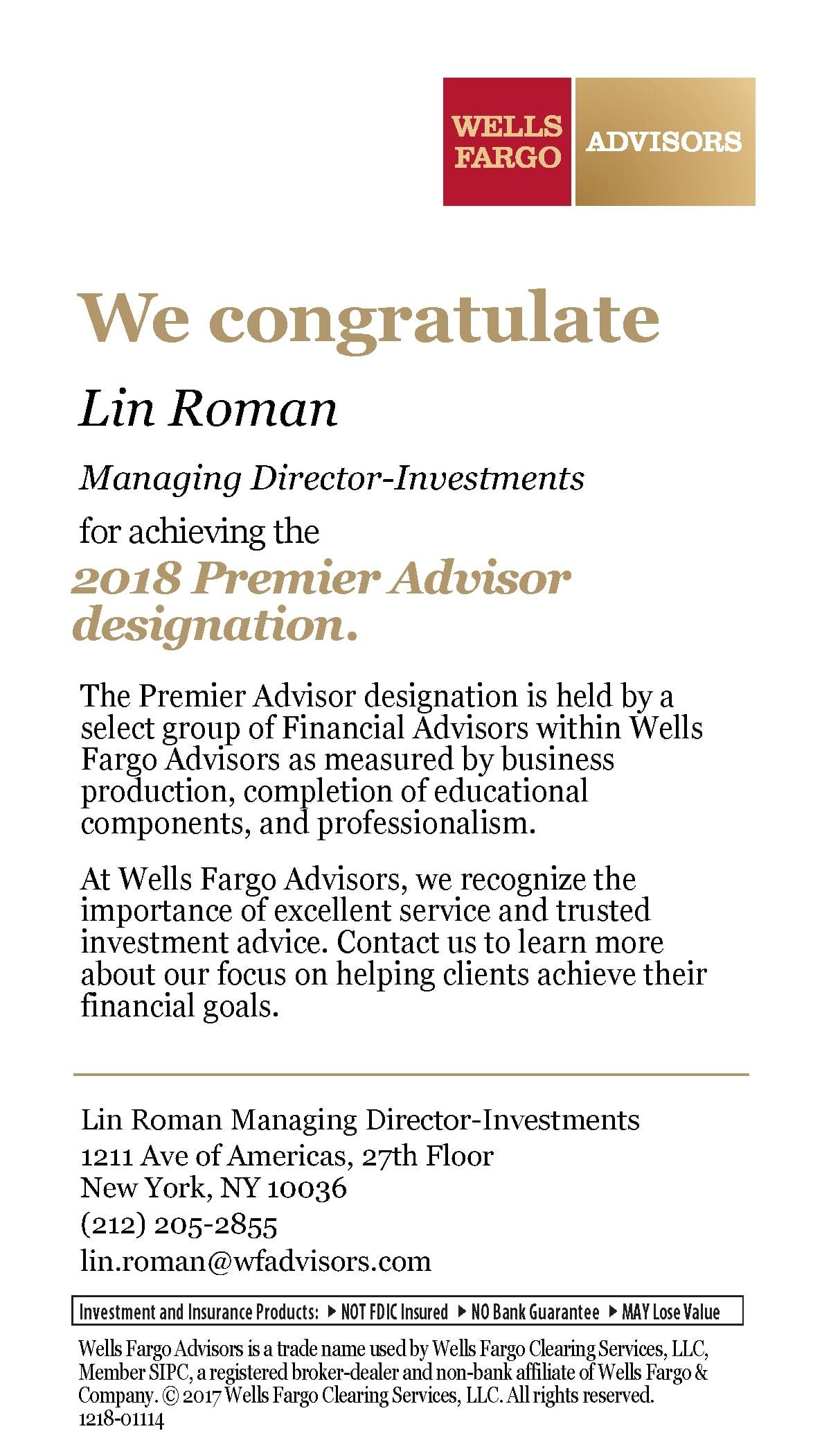 Lin Roman named a Wells Fargo Advisors 2018 Premier Advisor