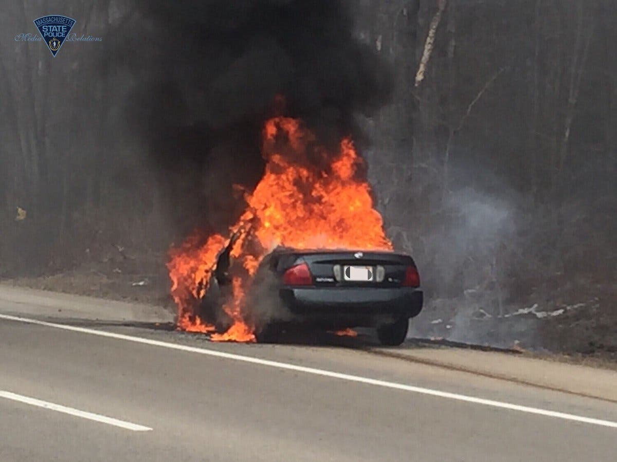 Car Bursts Into Flames On I-93 In Canton | Canton, MA Patch