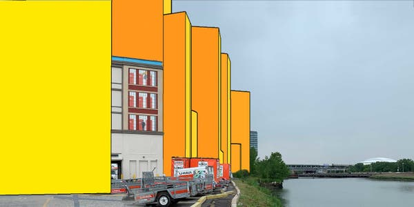 Rendering from Flushing Creek looking south